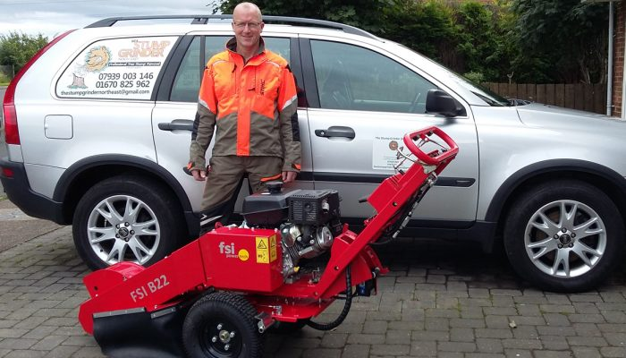 Tony Curtis with his stump grinder